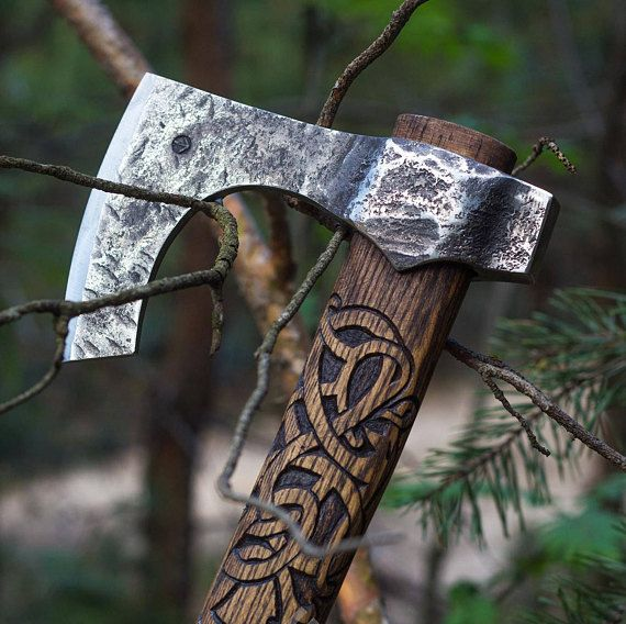Hand Forged Viking Axe with hummer High Carbon Steel Leather Case, Viking Bearded Axe, Custom axe, Camping axe