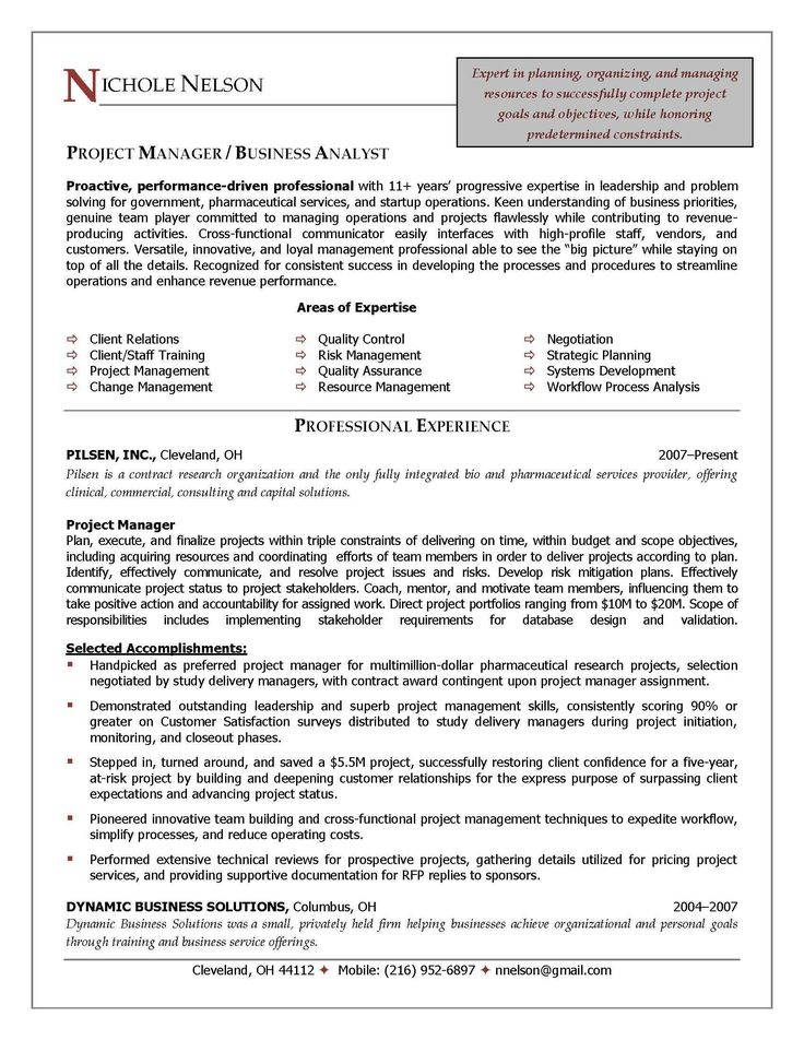 16 best Cv images on Pinterest Resume examples, Project - project manager resume sample doc