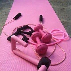Pink workout equipment.
