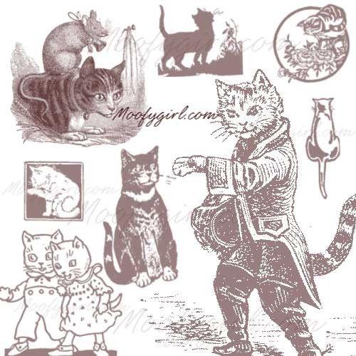 Vintage Cats Photoshop Brushes Brush Set by moofygirl on Etsy, $2.99