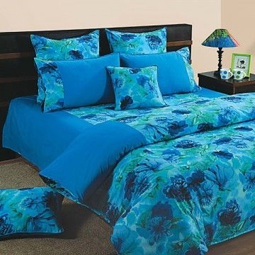 Blue Flowers Fitted Bed Sheet, Shades Of Paradise 6715