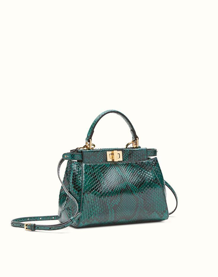 FENDI MINI PEEKABOO - green python handbag