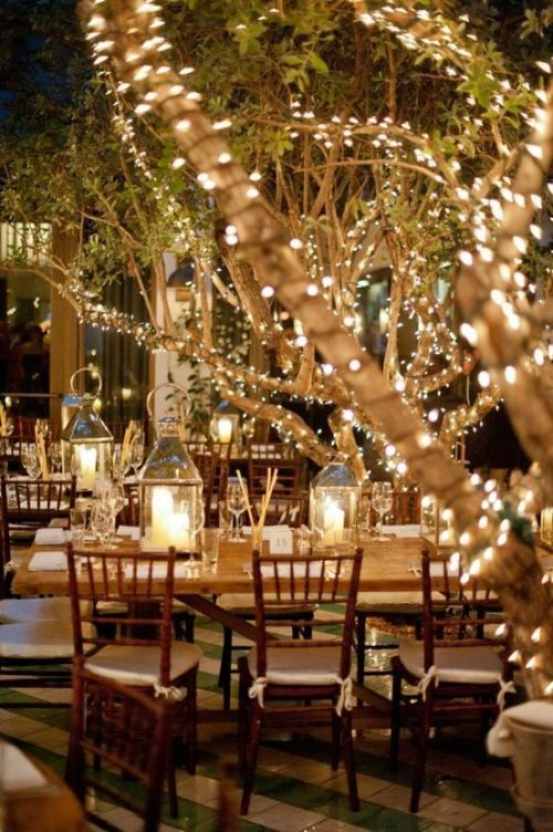 Outdoor wedding reception with white lights and candle lanterns.