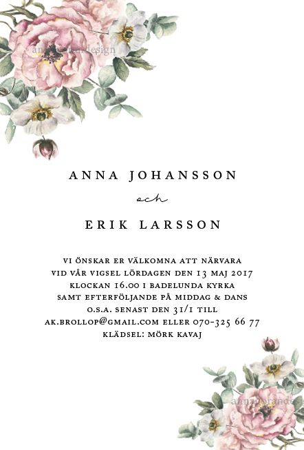 Pastell II - inbjudningskort ill bröllop. #rosa rosor #anemon #anemoner #eukalyptus