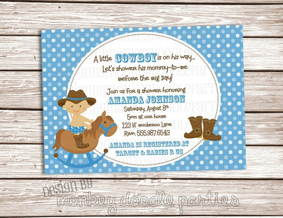Little Buckaroo Cowboy Baby Shower Custom By MonkeyDoodleParties, $10.00