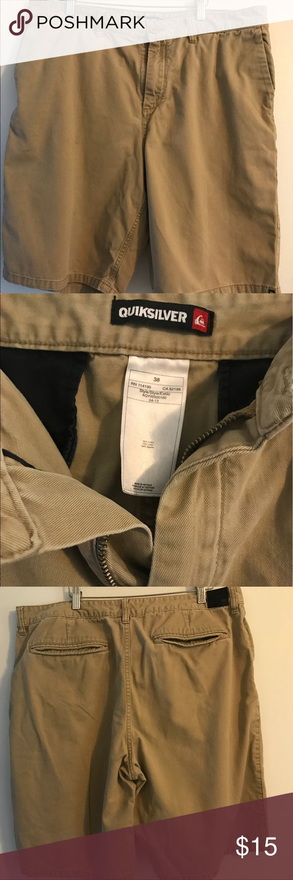 Men's Khaki Shorts Quiksilver men's shorts! A staple in every mans wardrobe! Used but still in good condition...... tons of life still left! Quiksilver Shorts Flat Front