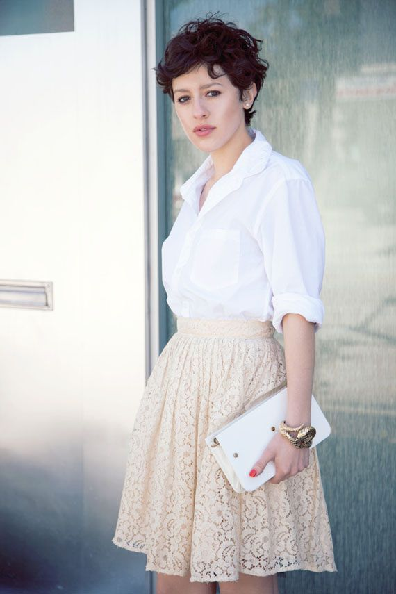 Wearing men's J.crew shirt, vintage lace skirt from Shareen, Roberto Cavalli snake cuff, vintage lucite clutch, and Prada sandals.