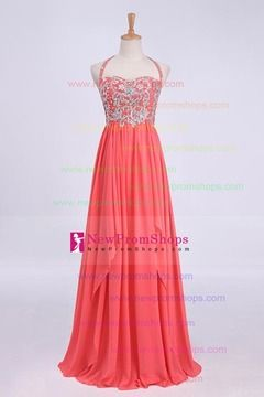 2013 Prom Dresses Halter Floor Length Chiffon Zipper Up Back With Beading/Sequins NZD 105.20 NPSPQKQB26D - NewPromShops.com