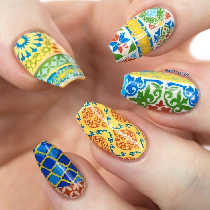 Spanish Tiles Stamping Nail Art CJS LC-26 by Kimett Kolor