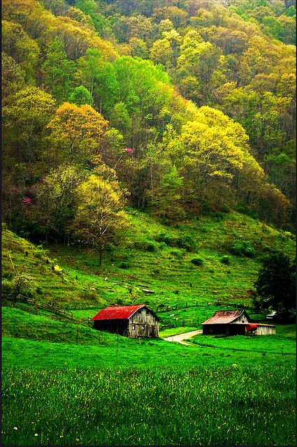 through the country side in the Appalachia mountains