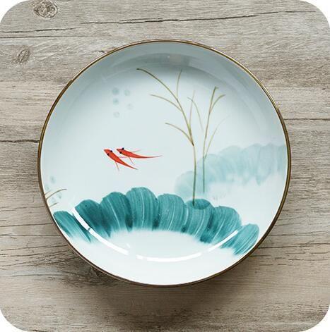 Pas cher Poisson rouge vaisselle Japonais traditionnel peint à la main haute température glaçure couleur profonde plat hsy 7.25d.4, Acheter  Assiettes en porcelaine de qualité directement des fournisseurs de Chine:Poisson rouge vaisselle Japonais traditionnel peint à la main haute température glaçure couleur profonde plat hsy-7.25d.4