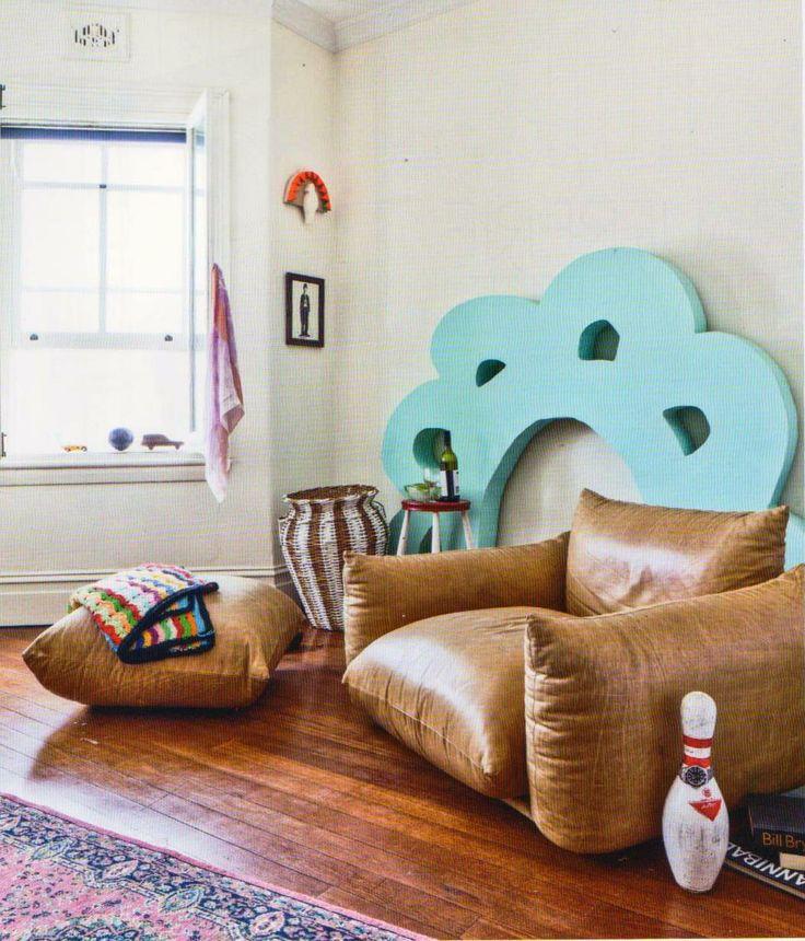 Arflex For His Home In Bondi Beach Downey Chose The Armchair And Pouf Marenco Arflex