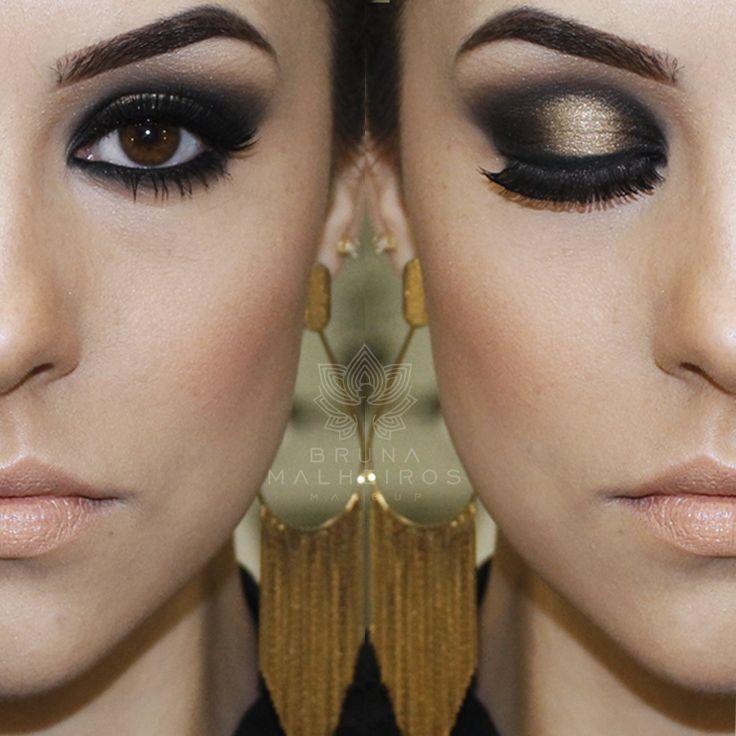 maquiagem preto e dourado, perfeito, lindo