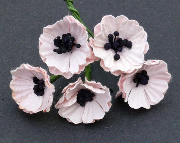 10 PALE PINK MULBERRY PAPER POPPY FLOWERS by Wild Orchid Crafts.   Source:  http://www.wildorchidcrafts.com/index.php?main_page=product_info&products_id=3619