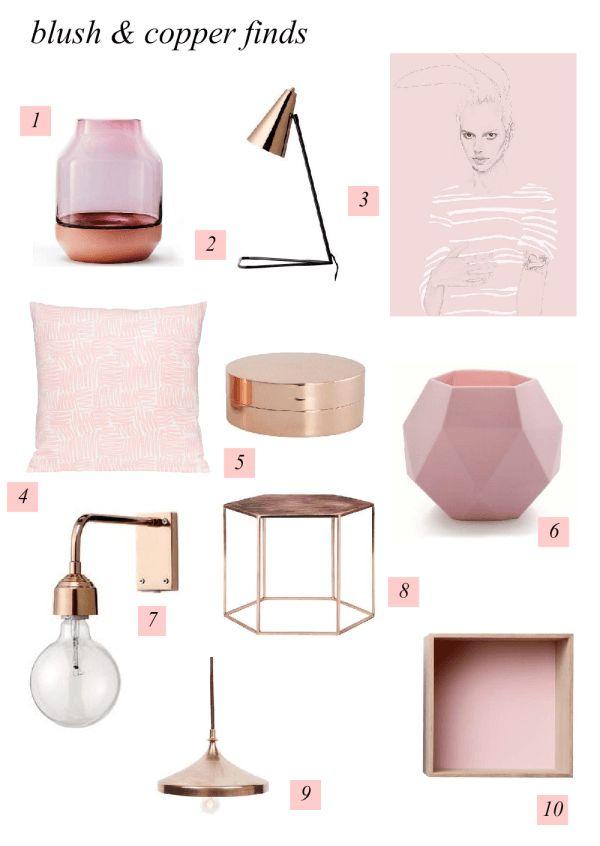 Blush Copper Interior Decorating Mood Board - created on www.sampleboard.com