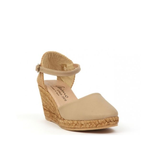 091665da134 GAIMO Obi wedge espadrille in nude made from nappa leather with leather  ankle strap.