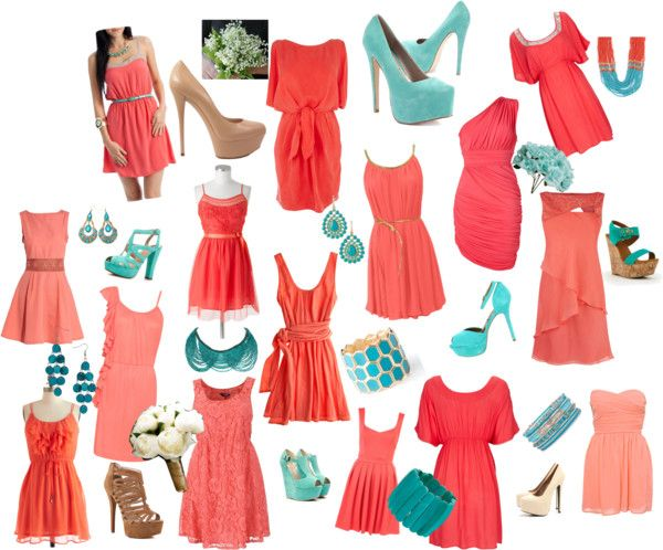 For my Girls!!! I like the mismatch look with the coral color dresses and the teal accessories! Exactly what I had in mind! :)