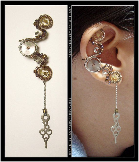 Unique steampunk ear cuff by Meowchee (on Etsy). Price: $23 (this one reserved for another Etsy member)