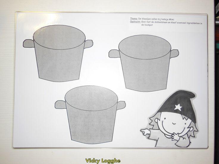 We maken griezelsoep: gooi met de dobbelsteen en kleef evenveel ingredienten in de soeppot