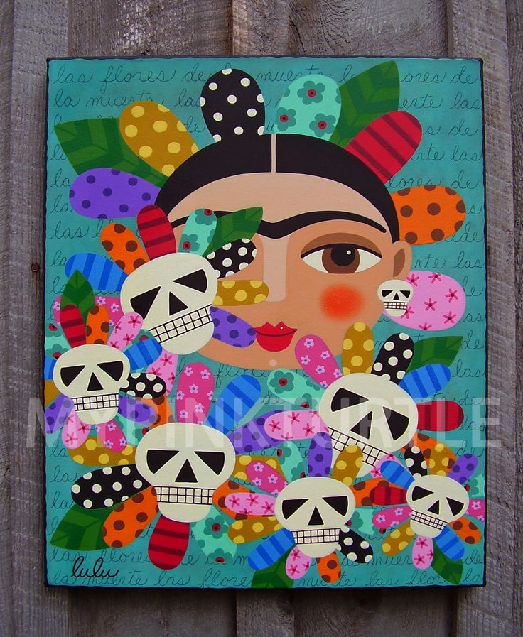 "For Sale ! Day of the Dead Frida Kahlo with Skull Flowers by LuLu Mypinkturtle 16"" x 20"" ORIGINAL canvas PAINTING"