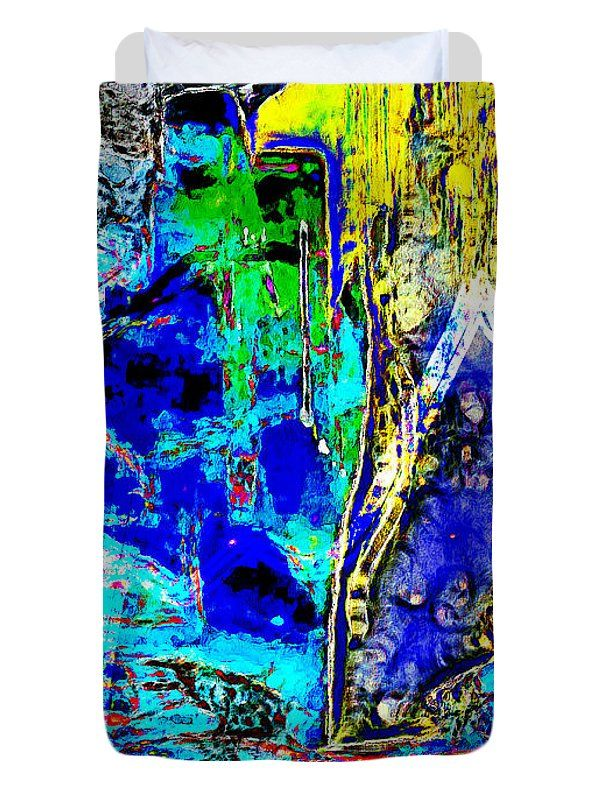Abstract Duvet Cover featuring the painting Yellow In Blue by Riccardo Zullian
