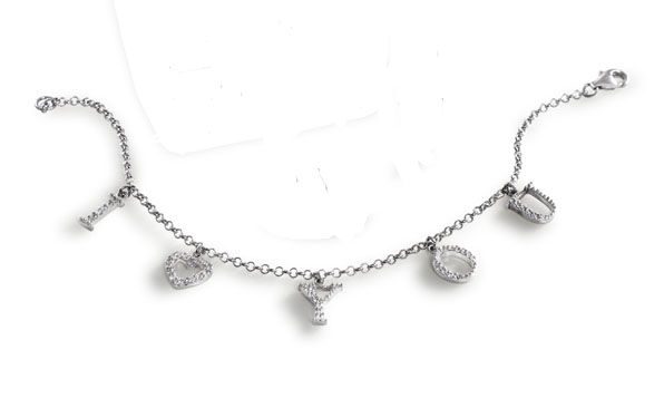 I Love You Cubic Zirconia Bracelet Silver