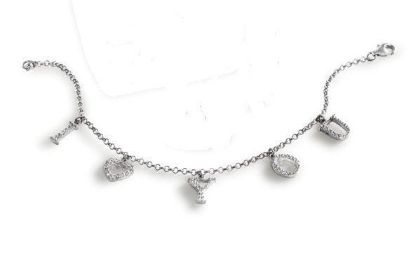 I Love You Cubic Zirconia Bracelet Silver