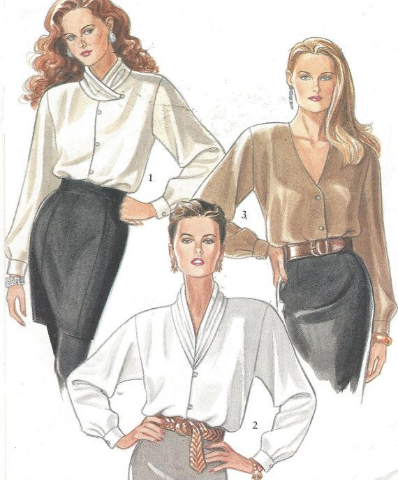 90s Womens Blouses with 3 Necklines New Look Sewing by CloesCloset