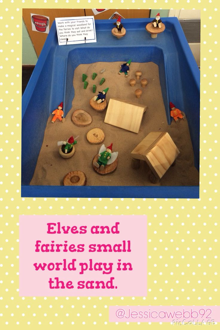 Small world play with the fairies and elves in the sand! EYFS