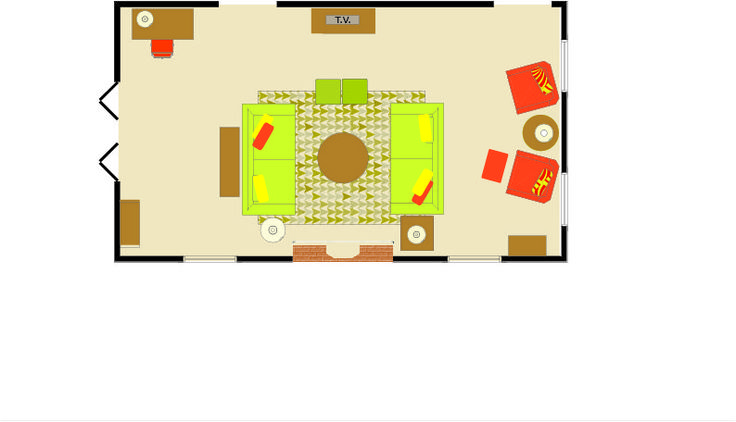 Layout for long living room with fireplace
