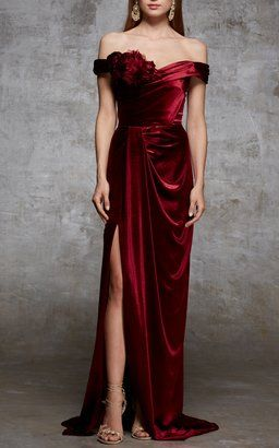 Off The Shoulder Velvet Gown by Marchesa