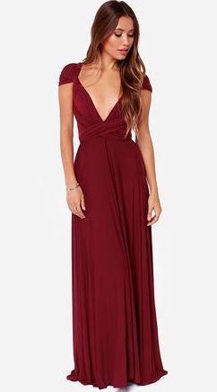 """Versatility at its finest, the Tricks of the Trade Burgundy Maxi Dress knows a trick or two... or four! Two, 74"""" long lengths of fabric sprout from an elastic waistband and wrap into a multitude of bodice styles including halter, one-shoulder, cross-front, strapless, and more.  #lovelulus"""