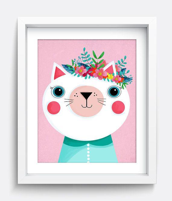 Cat Print, Flower Print, Cat Art Print, Flower Printable, Flower Crown, Animal Print, Spring Art, Wall Art, Digital Download