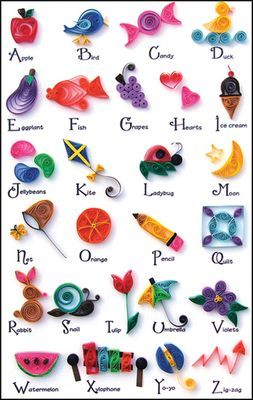 """A-Z Collection Quilling Kit This fun and creative kit has one design for each letter of the alphabet. Includes a 8.5"""" x 5.5"""" printed background sheet for your quilled designs. Also includes easy to follow instructions and quilling paper."""