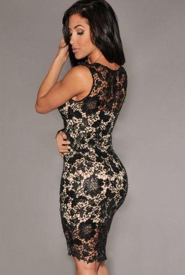Elegant Women's Jewel Neck Sleeveless Bodycon Lace Dress   GonChas