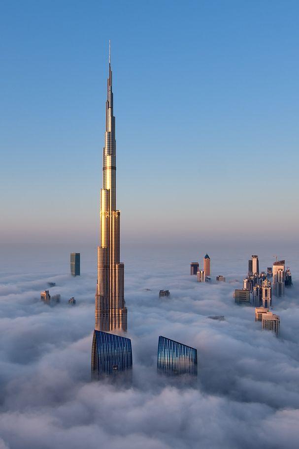 Burj Khalifa surrounded by a thick blanket of fog.Travel #Dubai This Holiday Season