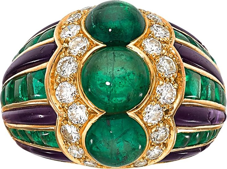 Emerald, Diamond, Amethyst and Gold Ring, by Bvlgari, French.