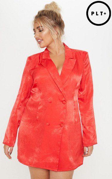 a9c66e025fe PrettyLittleThing satin shoulder pad blazer dress.  prettylittlething   plussize  plussizefashion