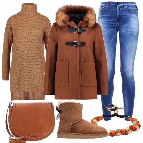 Un look perfetto per andare alluniversità: maglione con collo alto da abbinare ai jeans skinny, sopra indossiamo un bellissimo cappotto con cappuccio. Gli accessori completano il look in modo perfetto, tracolla, stivaletti e un bracciale.