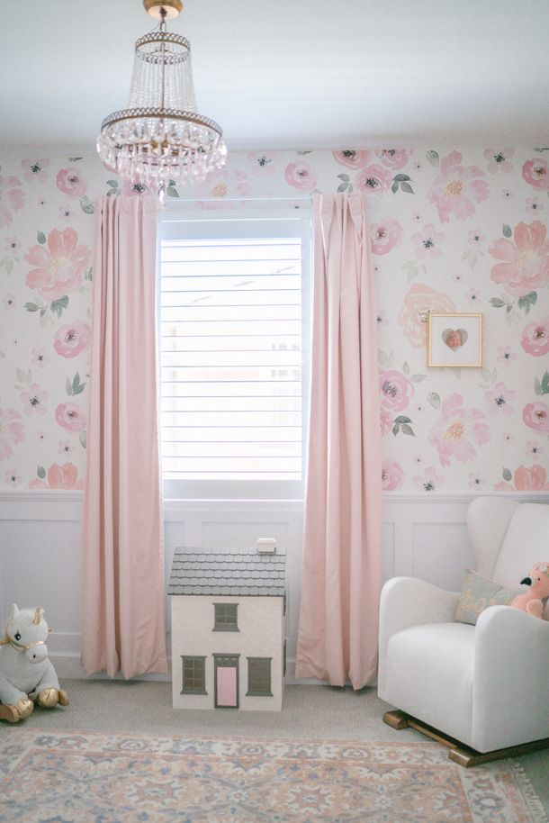 Custom Solid Pale Pink Drapes With Carousel Designs
