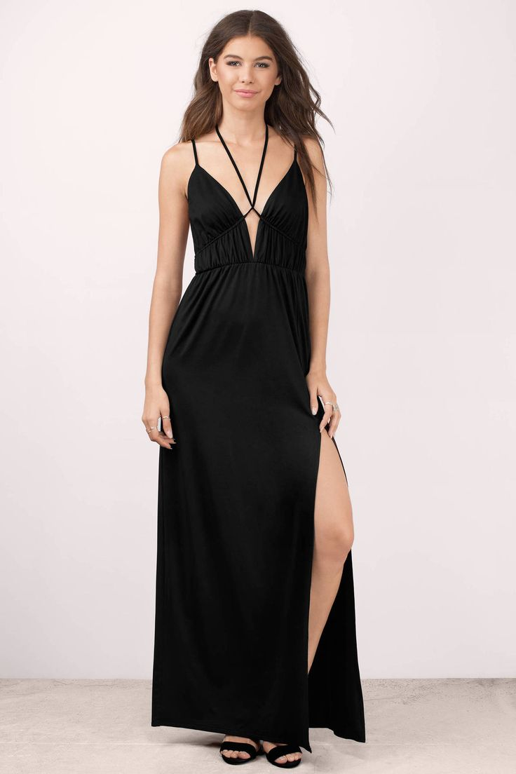 You& fall in love with the Kaori Plunging Maxi Dress. Featuring a front  slit and plunging neckline.