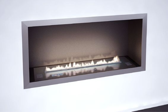 Ventless fireplace for tub alcove.      Planika Fires