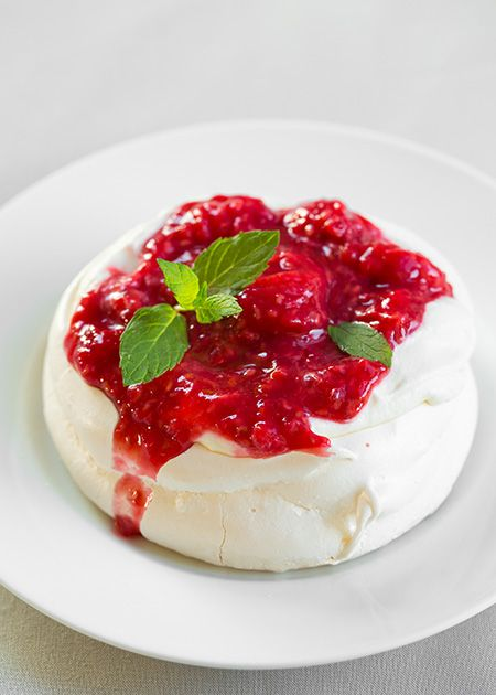 Pavlovas with Cream Cheese Whipped Cream and Raspberry Sauce | Cooking Classy