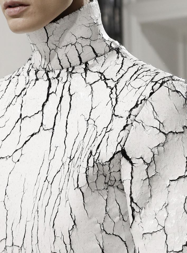 Cracked leather sweater with heavily textured surface like cracked white paint; striking fashion details // Balenciaga FW13