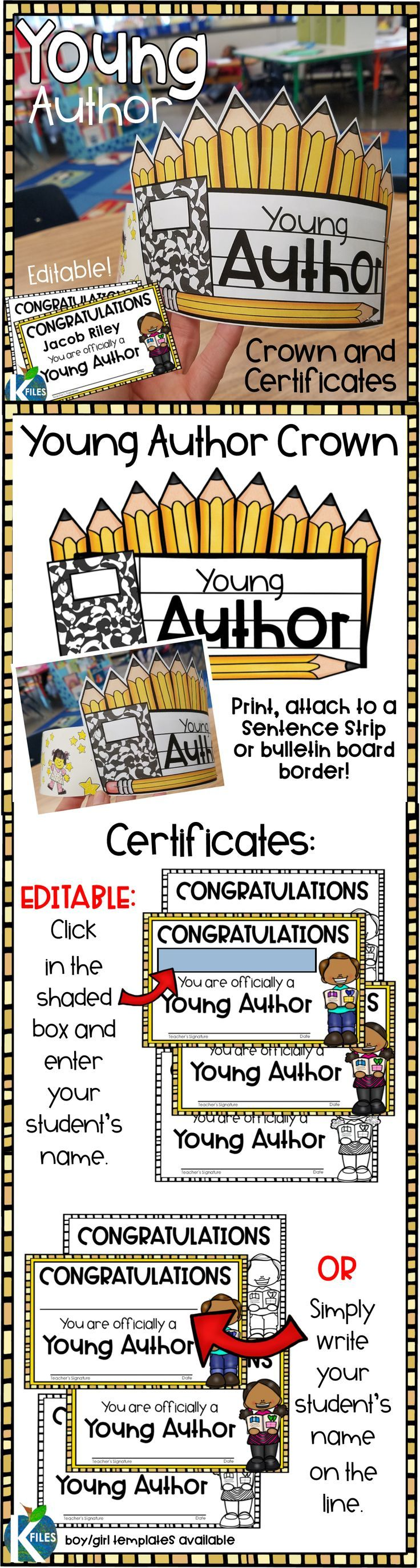 A Young Author Crown, Editable Award Certificates and Book Publishing Paper to help motivate and reward your students during Writer's Workshop!