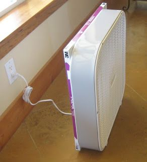 Reducing Pollen in Your Home with an Homemade Air Purifier ~ using Box Fan (20 inch blade), 20x20 high performance air filter and 1 big rubber-band