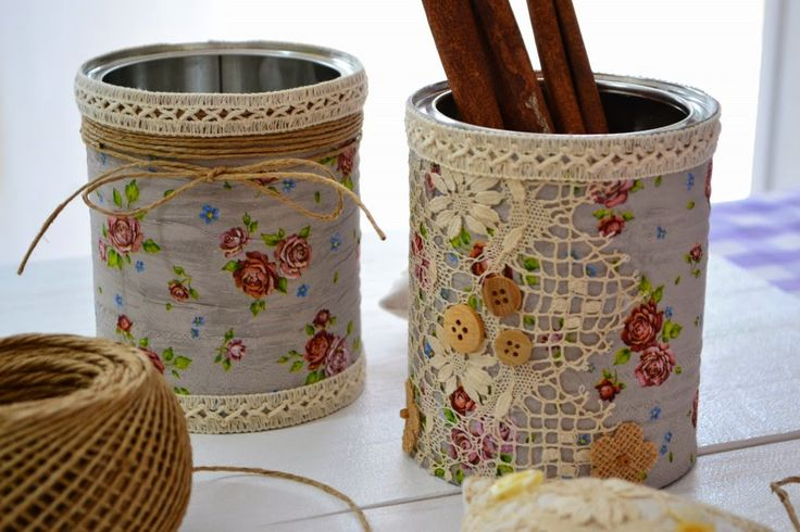 Reciclando latas com decoupagem em guardanapos                              …