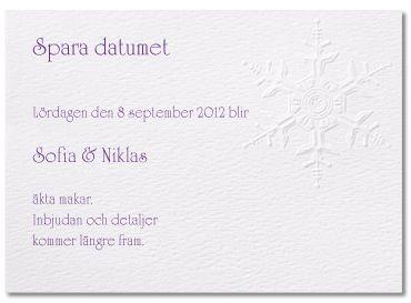 Snöflinga - save-the-date #calligraphenwedding #calligraphendetails #savethedate #bröllop #wedding #white #winter
