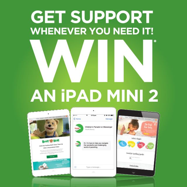 Children's Panadol are at our Adelaide Expo giving away their First Five Years book and famous green teething rings! Scan your Expo Ticket to go into the draw to win an ipad mini 2. Find them in Stand B09, April 7-9 at Adelaide Showground.