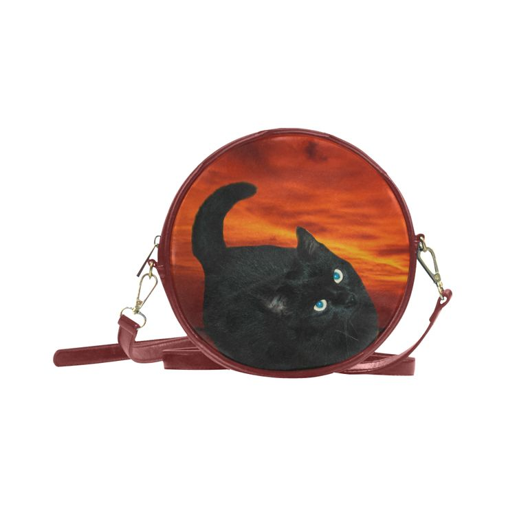 Black Cat Round Messenger Bag (Model 1647)